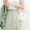 skirt Spring 2021 Average size Blue, green longuette commute High waist A-line skirt Decor Type A More than 95% Chiffon Good morning diary polyester fiber fold literature