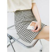 skirt Spring 2021 S,M,L,XL Short skirt grace High waist skirt lattice Type A More than 95% other Good morning diary polyester fiber Asymmetry