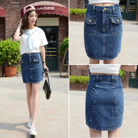 skirt Summer 2020 S 1-8-1-9, m 2-2-1, l 2-2, XL 2-3 blue Short skirt Versatile High waist skirt Solid color Type A 18-24 years old 81% (inclusive) - 90% (inclusive) Denim cotton Inlaid diamond, chain, fold, button, rust treatment 101g / m ^ 2 (including) - 120g / m ^ 2 (including)