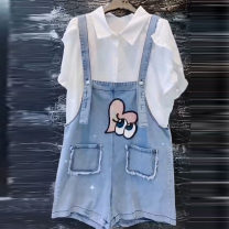Women's large Summer 2020 White T blue pants 3XL suggests 135-155 kg, 4XL 155-170 kg, 5XL 170-190 kg, 6xl 190-220 kg shirt Two piece set commute easy moderate Cardigan Short sleeve Cartoon animation, solid color Korean version Polo collar routine Denim, polyester, cotton Three dimensional cutting