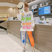 Women's large Summer 2020, spring 2020 White and blue with orange 3XL suggests 135-155 kg, 4XL 155-170 kg, 5XL 170-190 kg, 6xl 190-220 kg T-shirt Two piece set street Straight cylinder moderate Socket Long sleeves Solid color, decor, letter Crew neck routine Polyester, cotton routine fungus trousers