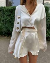 Fashion suit Autumn 2020 S,M,L Apricot top, apricot skirt 81% (inclusive) - 90% (inclusive) polyester fiber