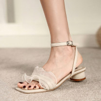 Sandals 35,36,37,38,39 Off white, apricot, black PU Other / other Square head Thick heel Middle heel (3-5cm) Summer 2021 Flat buckle leisure time Solid color Adhesive shoes Youth (18-40 years old) rubber daily Back space Low Gang Hollow PU PU Flat buckle