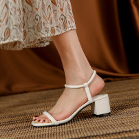 Sandals 35,36,37,38,39 White, blue, green, black PU Other / other Barefoot Thick heel Middle heel (3-5cm) Summer 2021 Trochanter Korean version Solid color Adhesive shoes Youth (18-40 years old), general rubber daily Back space Thick heel Low Gang Hollow PU PU peep-toe