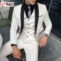 Suit Youth fashion Others White (single suit) black (single suit) white (suit + trousers) black (suit + trousers) white (suit + Vest + trousers) black (suit + Vest + trousers) 48(M) 50(L) 52(XL) 54(XXL) 56(3XL) 58(4XL) routine Back middle slit Flat lapel Four seasons Self cultivation banquet youth