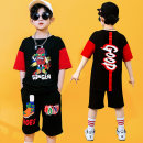 suit Fan Xia Black, black with hat female summer leisure time Short sleeve + pants 2 pieces routine There are models in the real shooting Socket nothing Cartoon animation Pure cotton (100% cotton content) children Giving presents at school 202101A Class B Cotton 95% polyester 5% Chinese Mainland