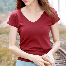 T-shirt S,M,L,XL,2XL,3XL,4XL Spring 2021 Short sleeve V-neck easy Regular raglan sleeve commute Viscose 51% (inclusive) - 70% (inclusive) 40-49 years old Korean version Solid color Waysha