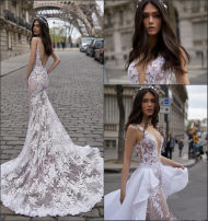 Dress / evening wear Wedding, adulthood, party, company annual meeting, performance, routine, appointment Size customization sexy longuette middle-waisted Spring of 2019 Trailing Deep collar V Hollowing out Lace Sleeveless