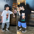 T-shirt White teddy bear T, black teddy bear T, white teddy bear t (pre-sale), black teddy bear t (pre-sale) Other / other 90cm,100cm,110cm,120cm,130cm,140cm,150cm neutral summer Short sleeve Crew neck leisure time There are models in the real shooting nothing cotton Cartoon animation