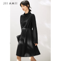 Dress Autumn of 2019 black 165/88A/L,155/80A/S,160/84A/M Mid length dress singleton  Long sleeves commute High collar Loose waist Solid color Socket A-line skirt routine 30-34 years old Type A Amii Redefine Simplicity More than 95% other