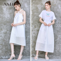 skirt Summer of 2019 160/68A/M,.,165/72A/L,155/64A/S Black, beige, description longuette commute High waist A-line skirt Solid color Type A 25-29 years old More than 95% Amii other Bandage Simplicity