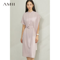 Dress Summer 2020 Rainstorm gray, description, shell pink, black and white bar .,170/92A/XL,160/84A/M,155/80A/S,165/88A/L Mid length dress singleton  Short sleeve commute stand collar Loose waist stripe Single breasted Bat sleeve 25-29 years old Type A Amii Simplicity Button, asymmetric QZ-1203TM0100