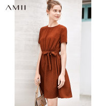 Dress Summer of 2019 Short skirt singleton  Short sleeve commute Crew neck middle-waisted Dot Socket A-line skirt routine 18-24 years old Type A Amii Simplicity Bandage, print More than 95% other