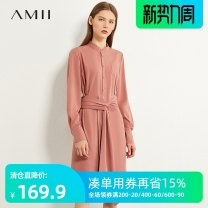 Dress Summer 2020 Dry rose powder, beige, description 170/92A/XL,160/84A/M,.,165/88A/L,175/96A/XXL,155/80A/S Mid length dress singleton  Long sleeves commute stand collar High waist Single row two buttons A-line skirt routine 25-29 years old Type A Amii Simplicity QZ1-1204TM0155 More than 95% other