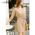 Dress Summer of 2019 Short skirt singleton  three quarter sleeve commute V-neck Loose waist Solid color A-line skirt routine 25-29 years old Type A Amii Simplicity Bandage More than 95% other