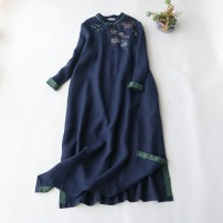 Dress Spring 2020 Black, Navy, grayish blue Average size longuette Long sleeves commute stand collar Elastic waist Solid color Socket Retro More than 95% hemp