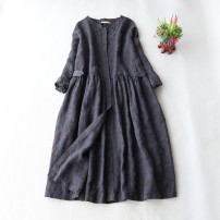 Dress Autumn 2020 Dark grey blue Average size longuette singleton  Long sleeves commute Crew neck Loose waist Single breasted A-line skirt routine Type A pocket More than 95% hemp