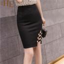 skirt Autumn 2020 S,M,L,XL,2XL Black, red Middle-skirt commute High waist skirt Solid color Type H 25-29 years old polyester fiber zipper Korean version