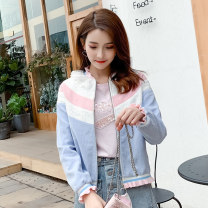 short coat Spring of 2019 S M L Blue and white powder coat w8792 apricot blue w8794 w8957-1 w8969 Long sleeves routine routine singleton  Straight cylinder routine Lotus leaf collar zipper 25-29 years old ATAR 96% and above W8937 polyester fiber Polyester 100% Pure e-commerce (online only)