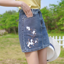 skirt Summer 2021 S M L Denim blue skirt Short skirt commute High waist A-line skirt Solid color 18-24 years old Q2619 Denim ATAR Embroidery Pure e-commerce (online only)