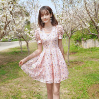 Dress Summer 2021 Powder dress pre-sale 10 days shipping S M L Short skirt singleton  Short sleeve 25-29 years old ATAR L2614 More than 95% polyester fiber Polyester 100% Pure e-commerce (online only)