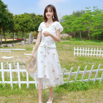 Fashion suit Summer 2021 S M L White - two piece set - pre sale 30 days shipment 25-35 years old ATAR T2615 Polyester 100% Pure e-commerce (online only)