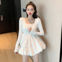 Dress Summer 2020 White, black, white short sleeves, black short sleeves S,M,L Miniskirt singleton  Short sleeve commute square neck High waist Solid color Socket A-line skirt routine Others 18-24 years old Type A Korean version