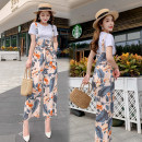Casual pants S,M,L,XL,2XL Summer 2020 Ninth pants Jumpsuit High waist commute Thin money 25-29 years old 81% (inclusive) - 90% (inclusive) Other / other other Korean version belt