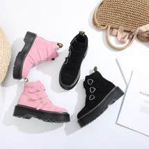 Boots 34 35 36 37 38 39 40 Black (leather) pink (leather) black (velvet) pink (velvet) top layer leather Other / other Middle heel (3-5cm) Square heel top layer leather Short tube Round head Pig skin Pig skin Autumn of 2018 Europe and America TPR (tendon) Color matching Martin boots Sewing shoes 008
