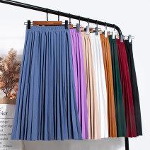 skirt Summer 2020 Average size Blue, brown, khaki, white, green, red, black, purple pink, brick red, light khaki, orange Mid length dress Versatile High waist A-line skirt Solid color Type A 25-29 years old Chiffon