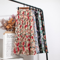 skirt Spring 2020 Average size Apricot, black, purple, light green, grey blue Mid length dress Versatile High waist Pleated skirt Big flower 18-24 years old Chiffon