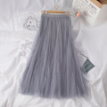skirt Spring 2020 Average size Mid length dress Versatile Natural waist A-line skirt Solid color Type A 25-29 years old Chiffon cotton