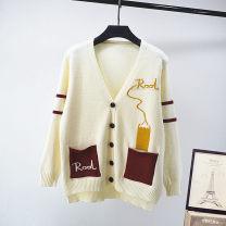 sweater Spring 2021 Average size Off white Long sleeves Cardigan singleton  Regular other 30% and below V-neck Regular Sweet routine Straight cylinder Regular wool Single breasted