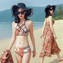 Bikini Listen to the waves Orange blue M L XL XXL Skirt bikini Steel strap breast pad Spandex polyester B17070 Summer 2017