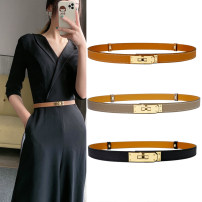 Belt / belt / chain top layer leather Khaki + gold button, khaki + silver button, black + gold button, black + silver button, khaki + gold button, khaki + silver button female belt Versatile Single loop Youth, youth, middle age a hook Glossy surface Glossy surface 1.8cm alloy alone Dorf
