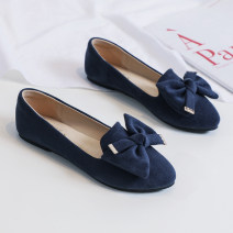 Low top shoes 33,34,35,36,37,38,39,40,41,42,43 To be willing Black, blue, light pink Round head Suede Flat heel Flat heel (1cm or less) Shallow mouth PU Autumn of 2019 Trochanter comfortable Adhesive shoes Youth (18-40 years old) Solid color TPR (tendon) Single shoes PU daily 777-1b suede