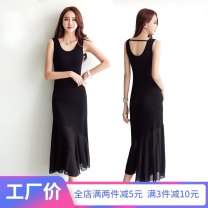 Dress Summer of 2018 6999 black sleeveless 6998 black short sleeve 6999 grey sleeveless 6998 grey short sleeve S M L XL XXL 3XL longuette singleton  Sleeveless commute Crew neck middle-waisted Solid color Socket A-line skirt other camisole 25-29 years old Type A Wind whispers Korean version F78XQ6999