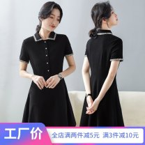 Dress Summer 2020 S M L XL XXL 3XL Mid length dress singleton  Short sleeve commute Polo collar High waist Solid color Single breasted A-line skirt 25-29 years old Type A Wind whispers Korean version More than 95% other Other 100%