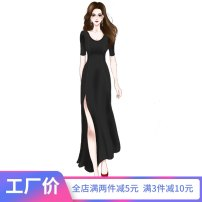 Dress Summer 2021 Gray blue black S M L XL longuette singleton  Short sleeve commute Crew neck High waist Solid color Socket Big swing routine Others 25-29 years old Type A Wind whispers Korean version Splicing F81XQ6603 30% and below knitting Lycra Lycra