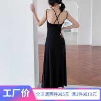 Dress Summer of 2019 black S M L XL XXL 3XL longuette singleton  Sleeveless commute Crew neck High waist Solid color Socket A-line skirt other camisole 25-29 years old Type A Wind whispers Korean version Open back stitching bandage F79XQ9266 30% and below knitting Lycra Lycra
