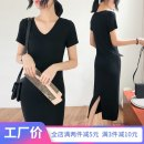 Dress Summer of 2019 black S M L XL XXL Mid length dress singleton  Short sleeve commute V-neck Loose waist Solid color Socket One pace skirt routine Others 25-29 years old Type H Wind whispers Korean version Splicing 30% and below knitting Lycra Lycra