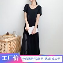 Dress Summer 2020 black S M L XL XXL 3XL longuette singleton  Short sleeve commute V-neck High waist Solid color Socket Big swing routine Others 25-29 years old Type A Wind whispers Korean version Stitching strap F80XQ2031 30% and below knitting Lycra Lycra