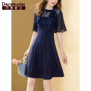 Dress Summer 2021 Navy Blue 155/80A/S 160/84A/M 165/88A/L 170/92A/XL 175/96A/XXL Middle-skirt singleton  elbow sleeve commute Crew neck High waist Solid color Socket A-line skirt raglan sleeve Others 35-39 years old Type X Danmunier lady 30% and below nylon Pure e-commerce (online only)