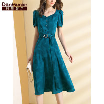 Dress Summer 2021 Lake Green 155/80A/S 160/84A/M 165/88A/L 170/92A/XL 175/96A/XXL Mid length dress singleton  Short sleeve commute square neck High waist Decor Socket A-line skirt puff sleeve Others 35-39 years old Type X Danmunier lady Pleated zipper jacquard 51% (inclusive) - 70% (inclusive)