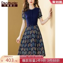 Dress Summer 2021 Navy Blue 155/80A/S 160/84A/M 165/88A/L 170/92A/XL 175/96A/XXL Mid length dress Fake two pieces Short sleeve commute Crew neck middle-waisted stripe Socket A-line skirt routine Others 35-39 years old Type X Danmunier lady Splicing 31% (inclusive) - 50% (inclusive) Chiffon nylon
