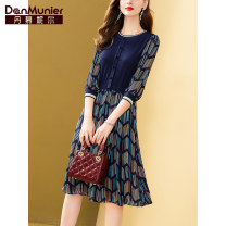 Dress Summer 2021 Pre sale of short sleeves for 12 days 155/80A/S 160/84A/M 165/88A/L 170/92A/XL 175/96A/XXL Mid length dress Fake two pieces three quarter sleeve commute Crew neck middle-waisted stripe Socket A-line skirt routine Others 35-39 years old Type X Danmunier lady More than 95%