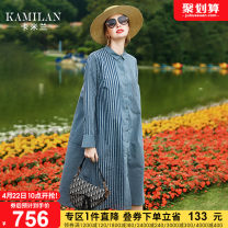 Dress Spring 2021 Gray blue S M L XL Mid length dress singleton  Long sleeves street Polo collar Loose waist stripe Single breasted other routine Others 35-39 years old Type A Kamilan kamilan pocket More than 95% cotton Cotton 100% Europe and America