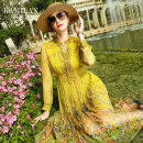 Dress Spring 2021 yellow S M L XL Mid length dress singleton  Nine point sleeve street stand collar High waist Decor Socket Big swing routine Others 35-39 years old Type A Kamilan kamilan Button printing More than 95% silk Mulberry silk 100% Europe and America