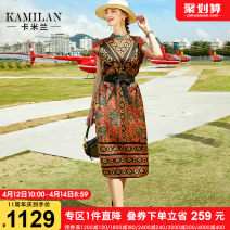 Dress Summer 2021 Decor S M L XL Mid length dress singleton  Short sleeve street stand collar Elastic waist Decor Socket A-line skirt other Others 35-39 years old Type A Kamilan kamilan Lace up printing KML21A13045 More than 95% silk Mulberry silk 100% Europe and America