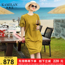 Dress Summer 2020 khaki S M L XL Mid length dress singleton  Short sleeve street Loose waist Solid color Socket Big swing other Others 35-39 years old Kamilan kamilan KML20B6126 More than 95% cotton Cotton 100% Europe and America